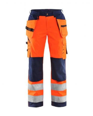 Blaklader 7167 Ladies High Vis Softshell Trouser (Orange/Navy Blue)